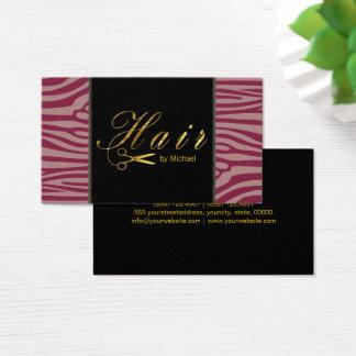 Hair Stylist Gold Scissors Script Modern Zebra #2