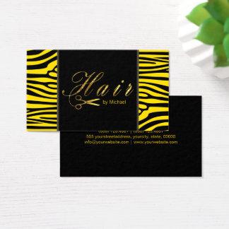 Hair Stylist Gold Scissors Script Modern Zebra #4