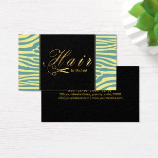 Hair Stylist Gold Scissors Script Modern Zebra #8
