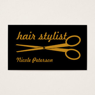 Hair Stylist - Gold Scissors with black background Business Card