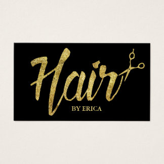 Hair Stylist Gold Script Modern Elegant Salon Business Card