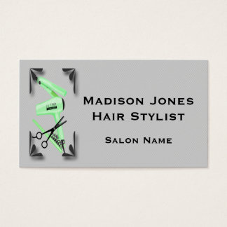 Hair Stylist Hair Dryer Curling Iron Scissors Business Card