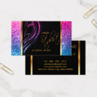 Hair Stylist in a Girly Colourful Glitter Business Card