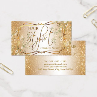 Hair Stylist in a Gold Glitter and Floral Business Card