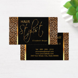 Hair Stylist in a Golden Brown Leopard Print Business Card