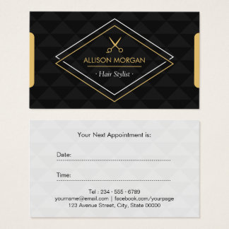 Hair Stylist Modern Abstract Geometric Appointment Business Card