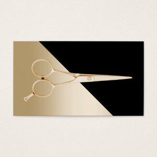 Hair Stylist Modern Black & Gold Scissor Business Card