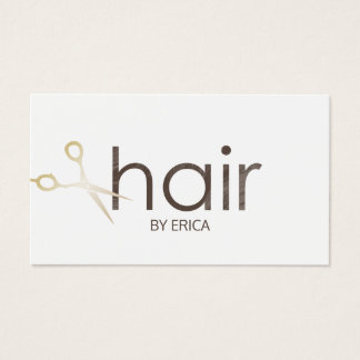 Hair Stylist Modern Gold Scissor Hair Salon Business Card