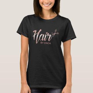 Hair Stylist Modern Rose Gold Script Beauty Salon T-Shirt