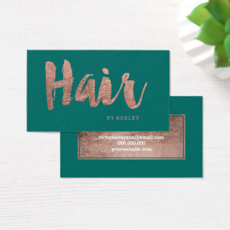 Hair stylist modern rose gold typography green business card