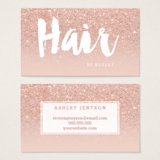 Hair stylist modern typography blush rose gold business card