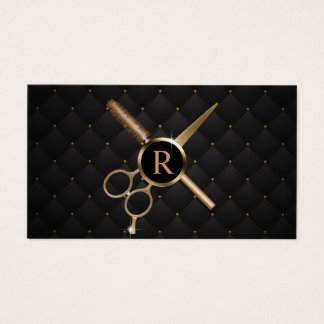 Hair Stylist Monogram Modern Black & Gold Business Card