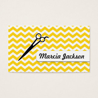 hair stylist mustard yellow chevron scissors business card