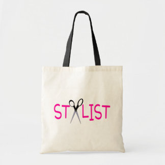 Hair Stylist Pink with Scissors Budget Tote Bag
