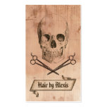 hair stylist punk grunge skull hairstylist brown business card template