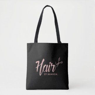 Hair Stylist Rose Gold Script Hair Salon Black Tote Bag