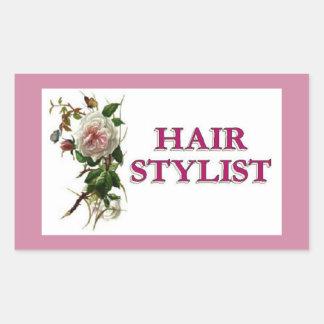 Hair Stylist Rose Rectangular Sticker