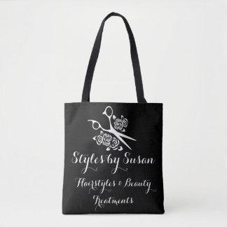 Hair Stylist Scissors Roses Custom Salon Tote Bag