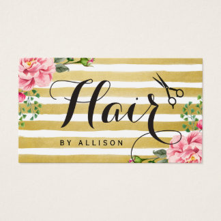 Hair Stylist Scissors Script Floral Gold Striped