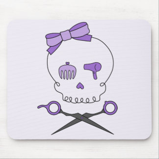 Hair Stylist Skull & Scissor Crossbones - Purple 2 Mouse Pad