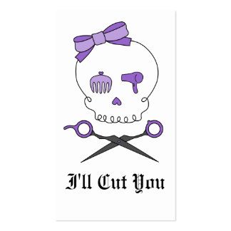Hair Stylist Skull & Scissor Crossbones - Purple Business Card Templates