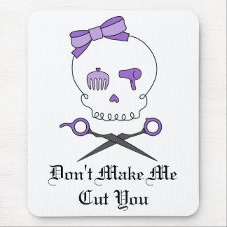 Hair Stylist Skull & Scissor Crossbones - Purple Mouse Pad