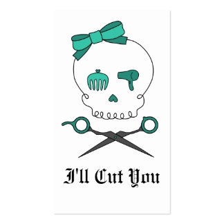 Hair Stylist Skull & Scissor Crossbones -Turquoise Business Card