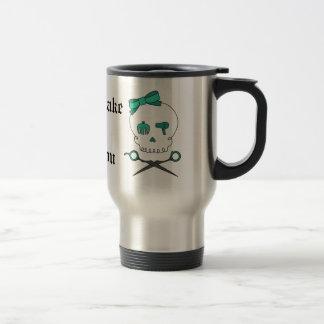 Hair Stylist Skull & Scissor Crossbones -Turquoise Travel Mug