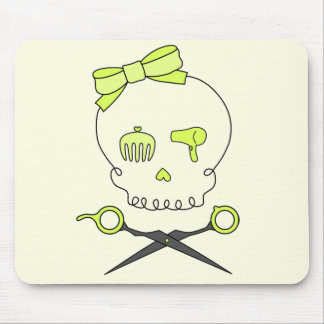 Hair Stylist Skull & Scissor Crossbones -Yellow #2 Mouse Pad