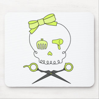 Hair Stylist Skull & Scissor Crossbones -Yellow Mouse Pad