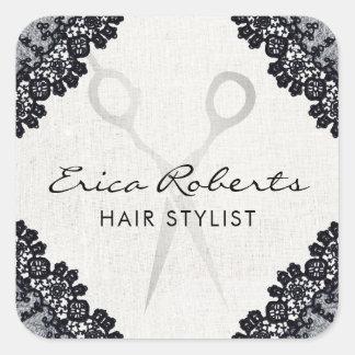 Hair Stylist Vintage Black Laced Hair Salon Square Sticker