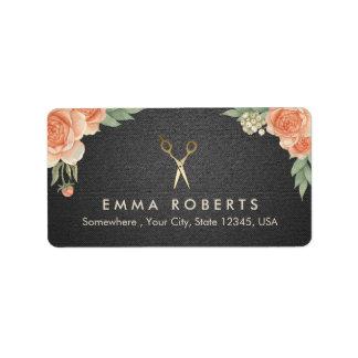 Hair Stylist Vintage Floral Elegant Black & Gold Address Label