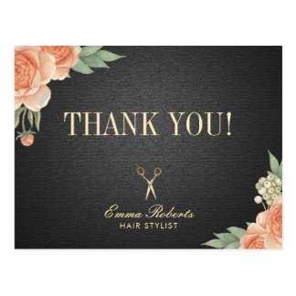 Hair Stylist Vintage Floral Salon Thank You Postcard