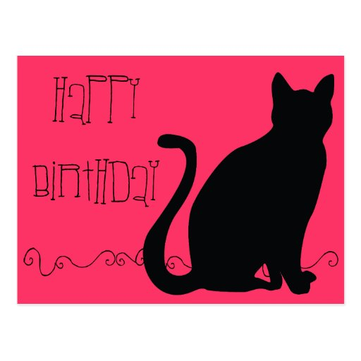 Hairball Funny Cat Birthday Post Card