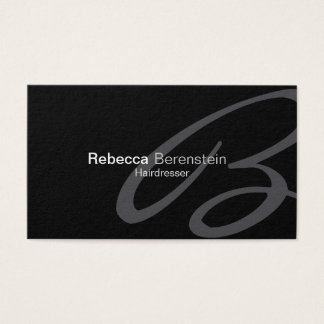 Hairdresser Beauty Fashion Style Cursive Monogram Business Card