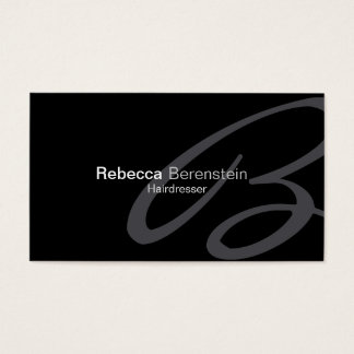 Hairdresser Beauty Fashion Style Cursive Monogram Business Card