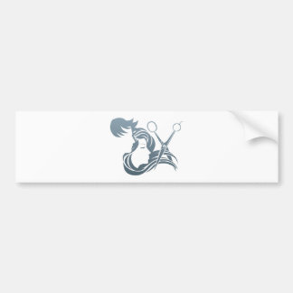 Hairdresser Man and Woman Scissors Concept Bumper Sticker