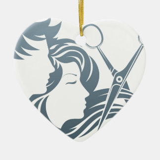 Hairdresser Man and Woman Scissors Concept Ceramic Heart Decoration