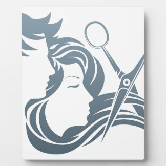 Hairdresser Man and Woman Scissors Concept Display Plaques