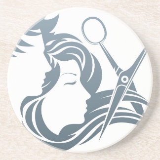 Hairdresser Man and Woman Scissors Concept Drink Coaster