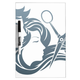 Hairdresser Man and Woman Scissors Concept Dry-Erase Boards