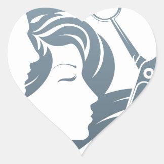 Hairdresser Man and Woman Scissors Concept Heart Sticker