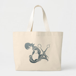 Hairdresser Man and Woman Scissors Concept Large Tote Bag