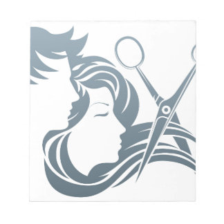 Hairdresser Man and Woman Scissors Concept Note Pads