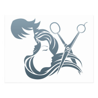 Hairdresser Man and Woman Scissors Concept Postcard