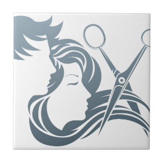 Hairdresser Man and Woman Scissors Concept Small Square Tile