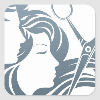 Hairdresser Man and Woman Scissors Concept Square Sticker