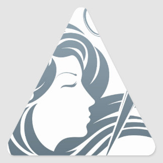 Hairdresser Man and Woman Scissors Concept Triangle Sticker