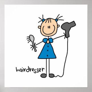Hairdresser Stick Figure Poster