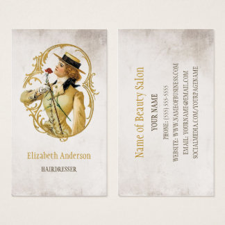 Hairdresser Vintage Gold Woman of Fashion Business Card